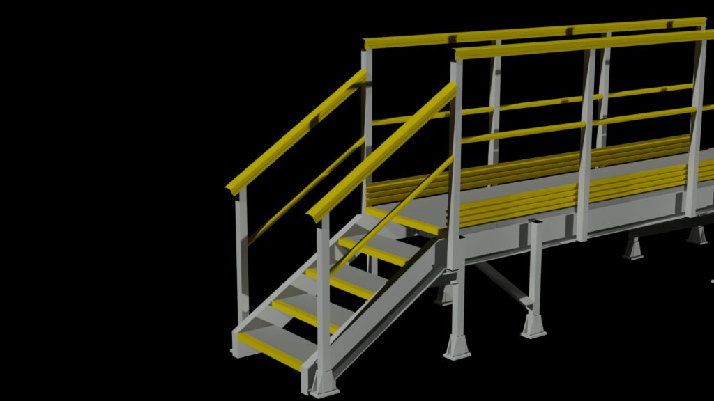 3D rendering of the steps at one end of a long walkway