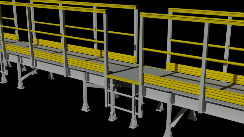 3D rendering of an access ladder to a raised walkway