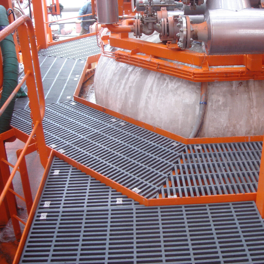 A maintenance platform fitted with grey GRP Phenolic Grating