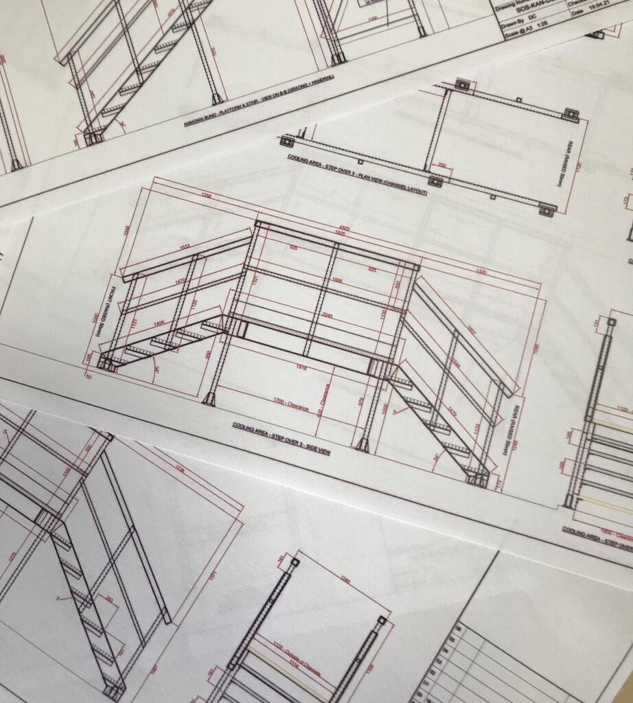 Close up of CAD drawings