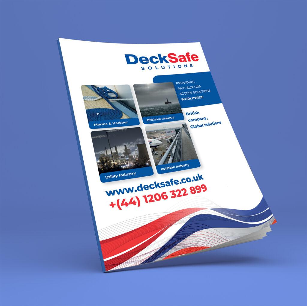 The DeckSafe Brochure on a blue background